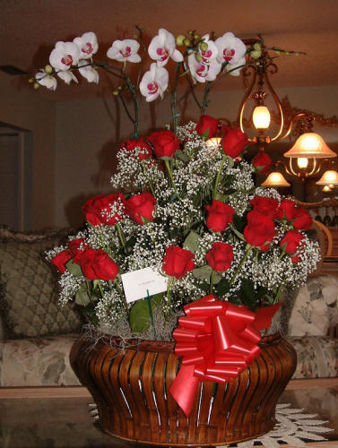 Orchid & Red Rose Arrangement
