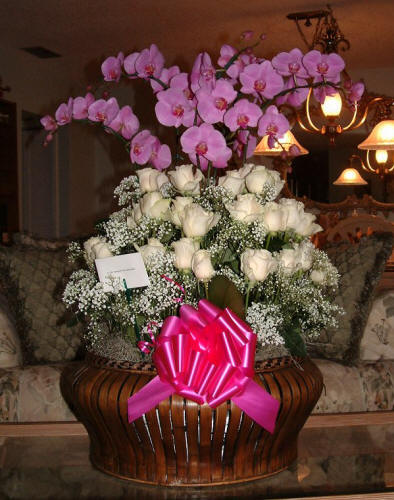 Orchid & White Rose Arrangement